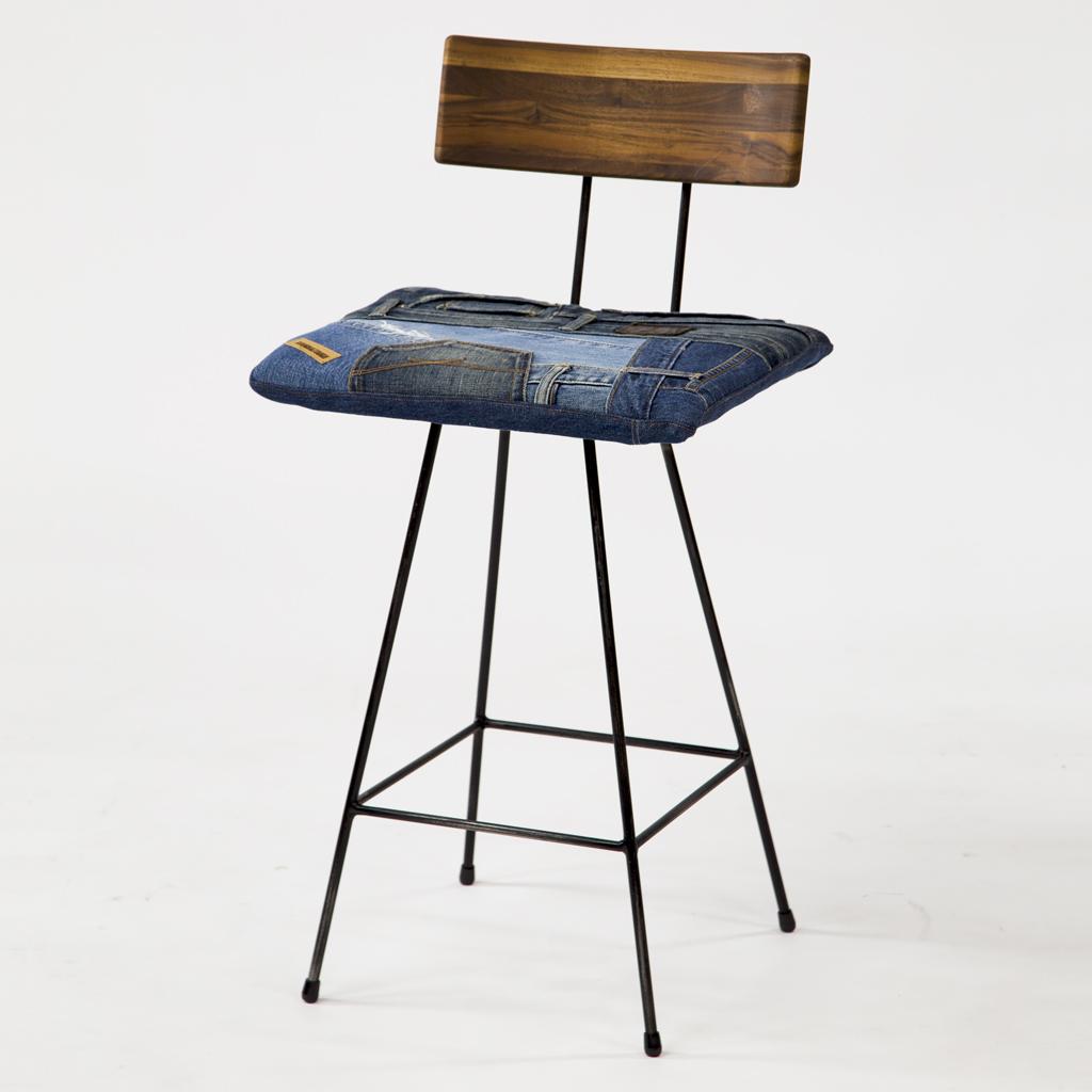 GENE Bar Chair Denim Walnut
